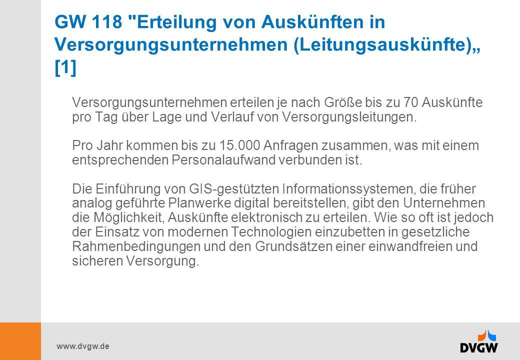 """GW 118 Erteilung von Auskünften in Versorgungsunternehmen (Leitungsauskünfte)"""" [1]"""